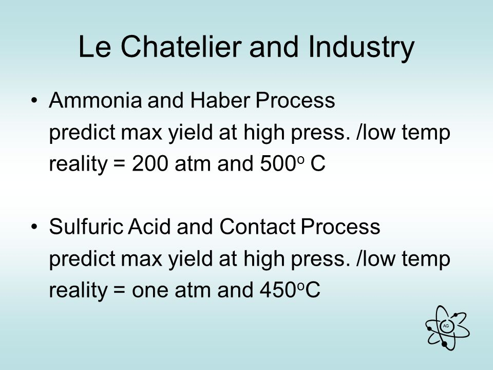 AG Le Chatelier and Industry Ammonia and Haber Process predict max yield at high press.