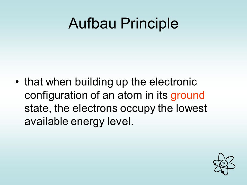 AG Aufbau Principle that when building up the electronic configuration of an atom in its ground state, the electrons occupy the lowest available energy level.