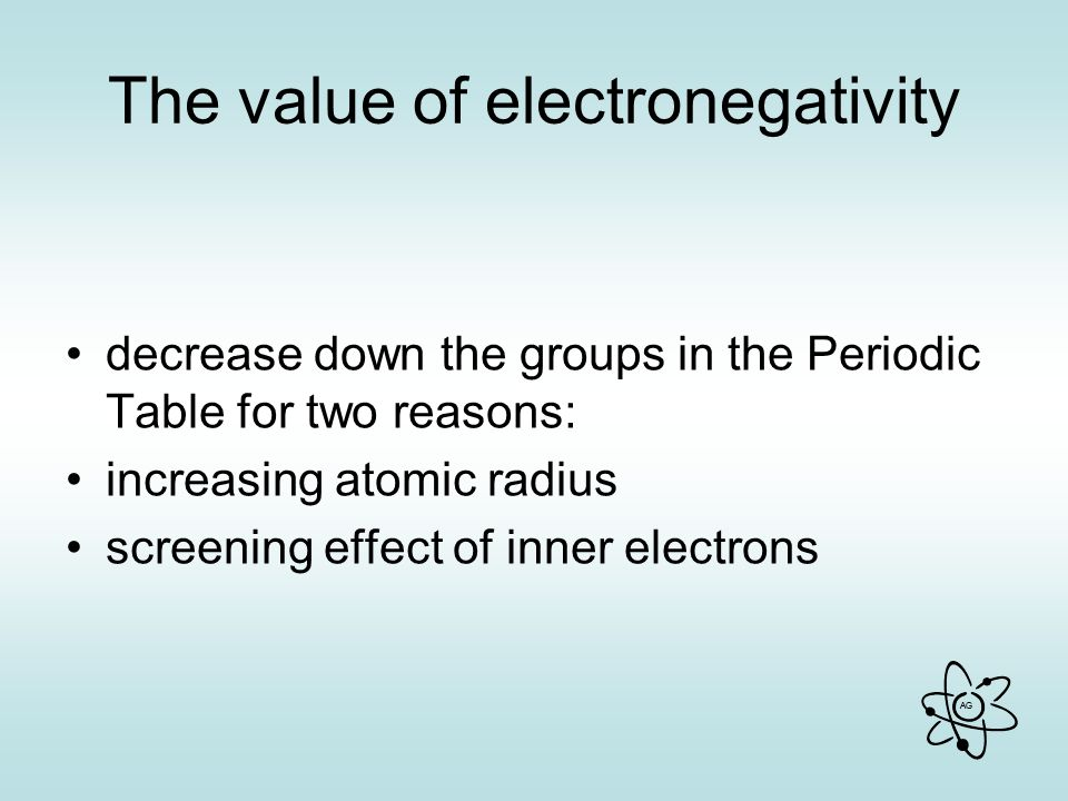 AG The value of electronegativity decrease down the groups in the Periodic Table for two reasons: increasing atomic radius screening effect of inner electrons