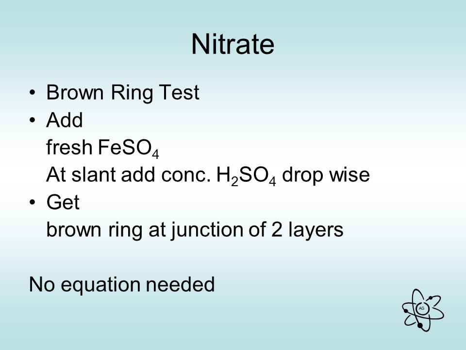 AG Nitrate Brown Ring Test Add fresh FeSO 4 At slant add conc.