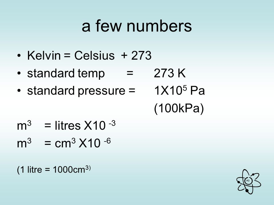 AG a few numbers Kelvin = Celsius + 273 standard temp = 273 K standard pressure = 1X10 5 Pa (100kPa) m 3 = litres X10 -3 m 3 = cm 3 X10 -6 (1 litre = 1000cm 3)