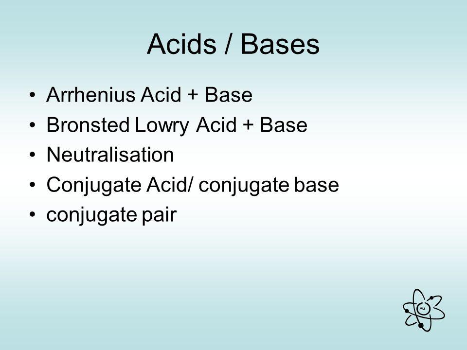 AG Acids / Bases Arrhenius Acid + Base Bronsted Lowry Acid + Base Neutralisation Conjugate Acid/ conjugate base conjugate pair