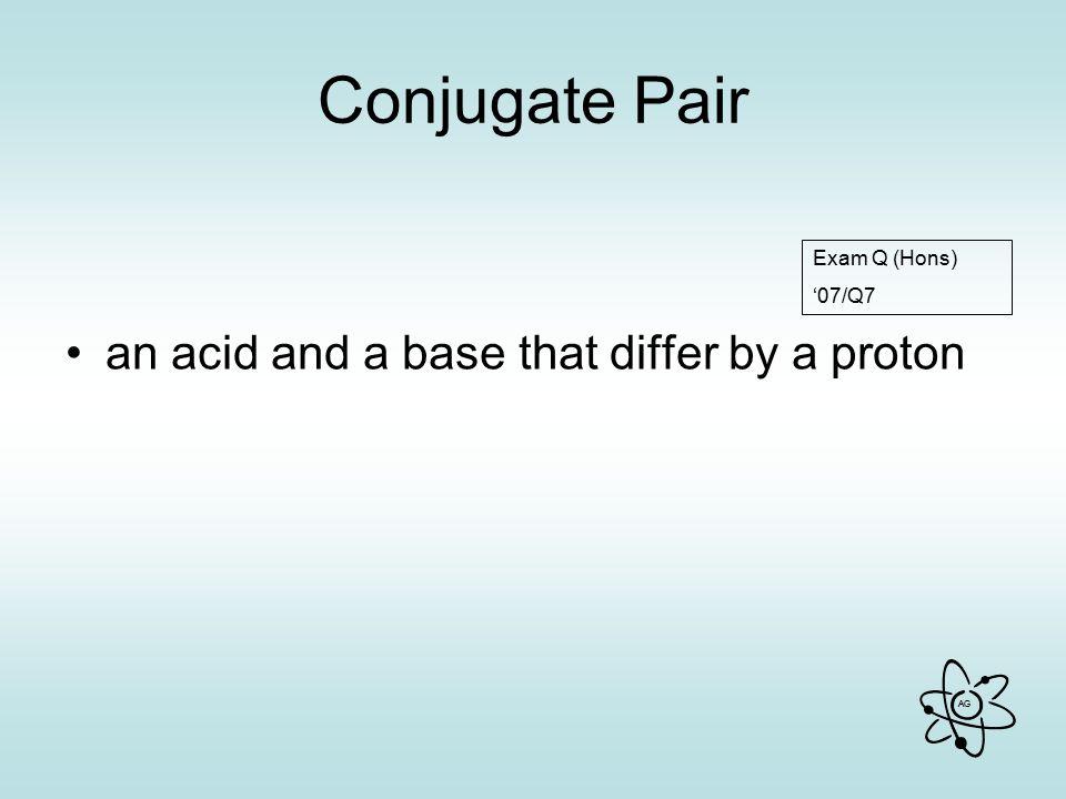 AG Conjugate Pair an acid and a base that differ by a proton Exam Q (Hons) '07/Q7