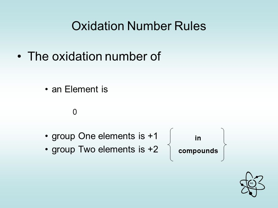 AG Oxidation Number Rules The oxidation number of an Element is 0 group One elements is +1 group Two elements is +2 in compounds