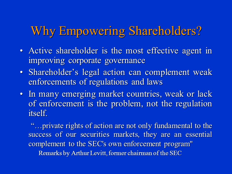 Why Empowering Shareholders? Active shareholder is the most effective agent in improving corporate governanceActive shareholder is the most effective