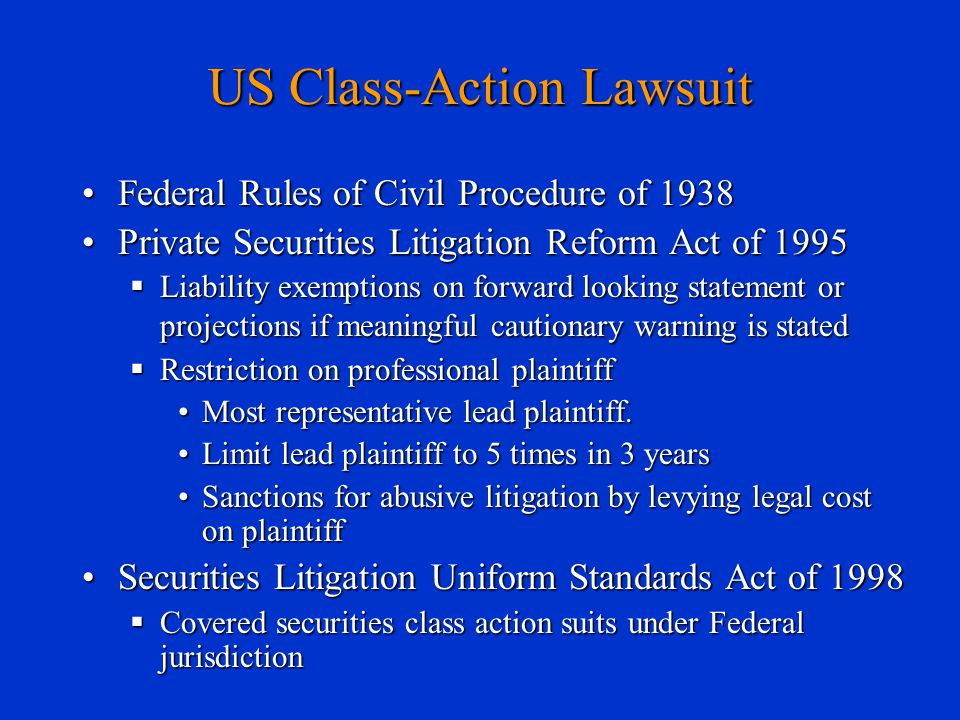 US Class-Action Lawsuit Federal Rules of Civil Procedure of 1938Federal Rules of Civil Procedure of 1938 Private Securities Litigation Reform Act of 1