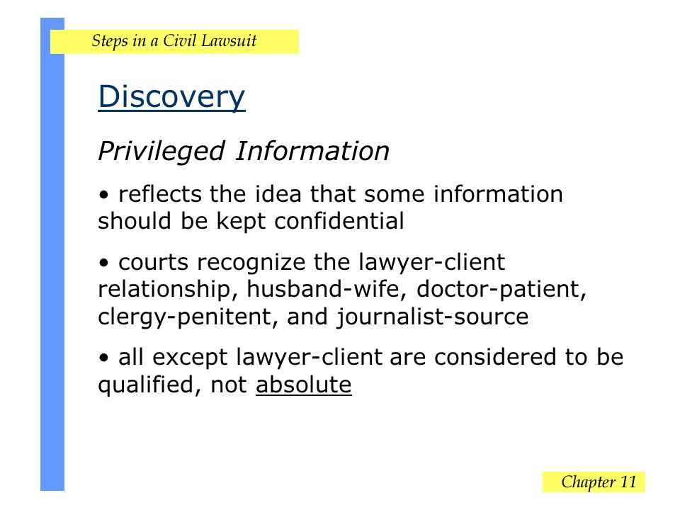 Discovery Privileged Information reflects the idea that some information should be kept confidential courts recognize the lawyer-client relationship, husband-wife, doctor-patient, clergy-penitent, and journalist-source all except lawyer-client are considered to be qualified, not absolute