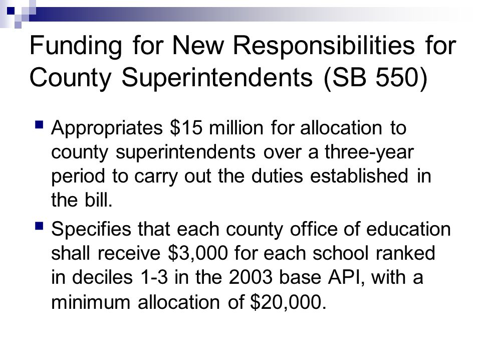 Funding for New Responsibilities for County Superintendents (SB 550)  Appropriates $15 million for allocation to county superintendents over a three-year period to carry out the duties established in the bill.