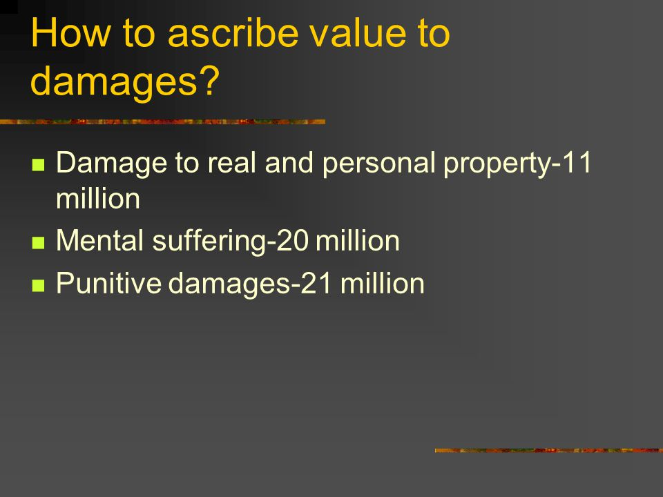 How to ascribe value to damages.