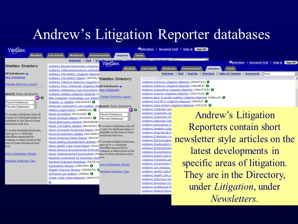 Andrew's Litigation Reporter databases Andrew's Litigation Reporters contain short newsletter style articles on the latest developments in specific areas of litigation.