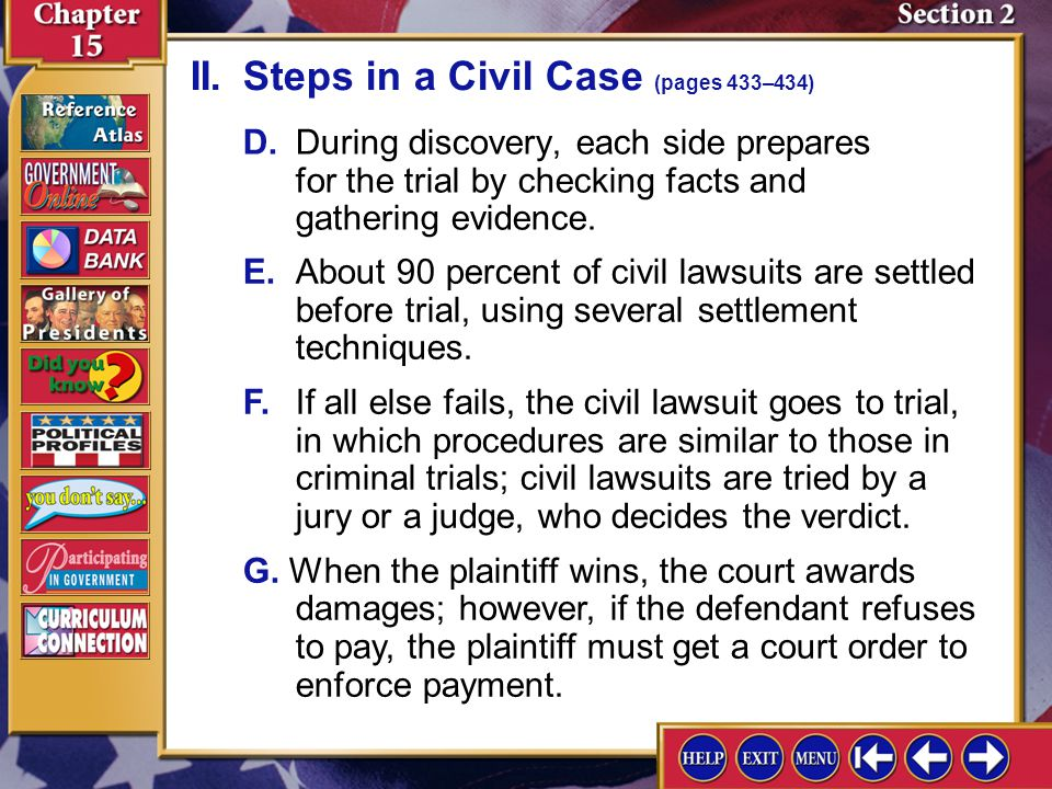 Section 2-6 D.During discovery, each side prepares for the trial by checking facts and gathering evidence. E.About 90 percent of civil lawsuits are se
