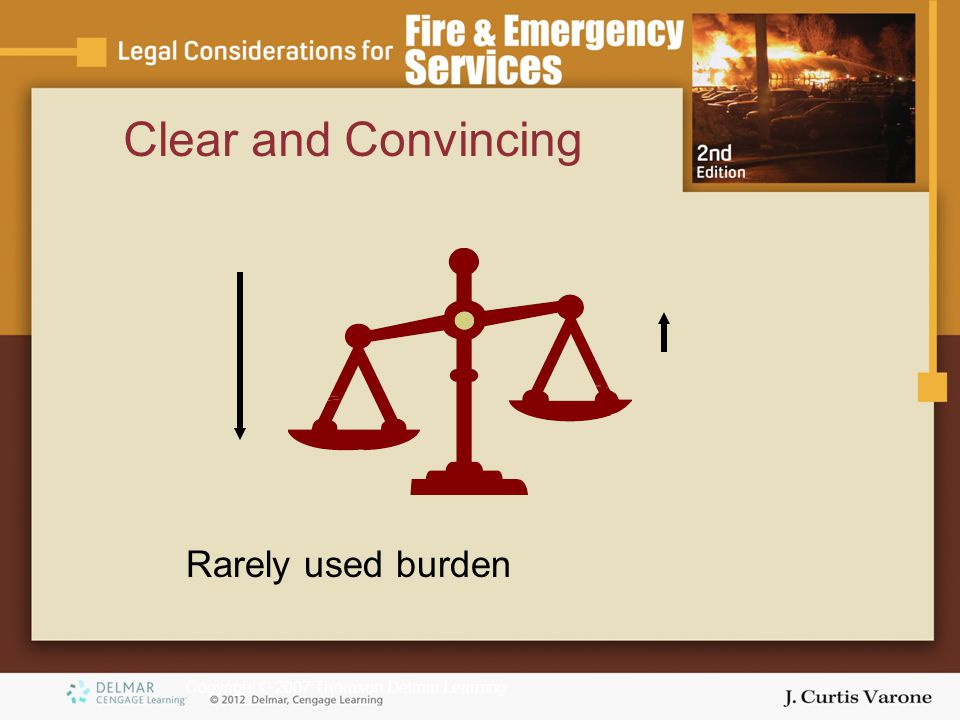 Copyright © 2007 Thomson Delmar Learning Clear and Convincing Rarely used burden