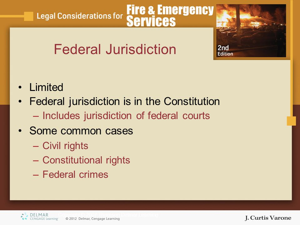 Copyright © 2007 Thomson Delmar Learning Federal Jurisdiction Limited Federal jurisdiction is in the Constitution –Includes jurisdiction of federal courts Some common cases –Civil rights –Constitutional rights –Federal crimes