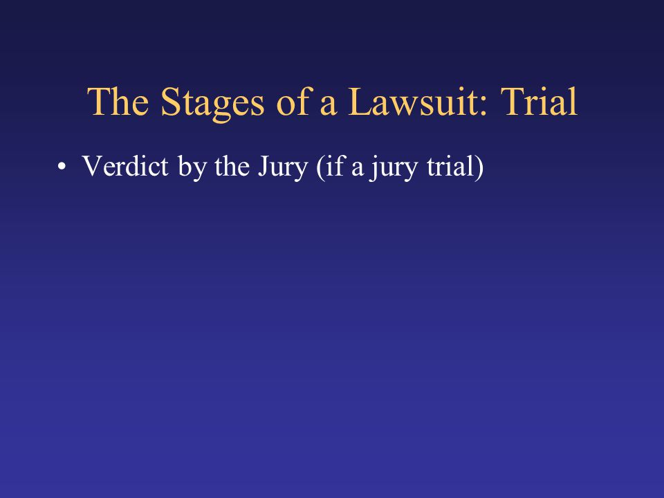 The Stages of a Lawsuit: Trial Verdict by the Jury (if a jury trial)