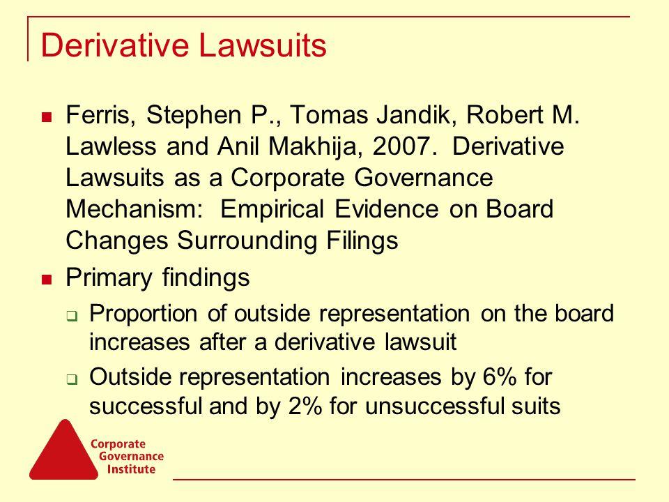 Derivative Lawsuits Ferris, Stephen P., Tomas Jandik, Robert M.
