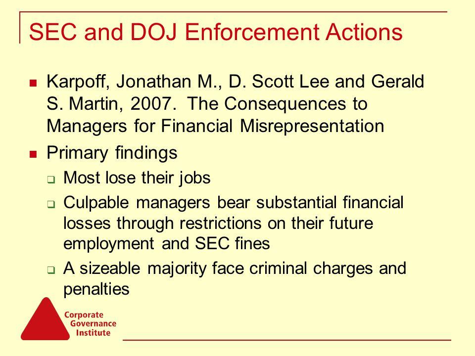 SEC and DOJ Enforcement Actions Karpoff, Jonathan M., D.