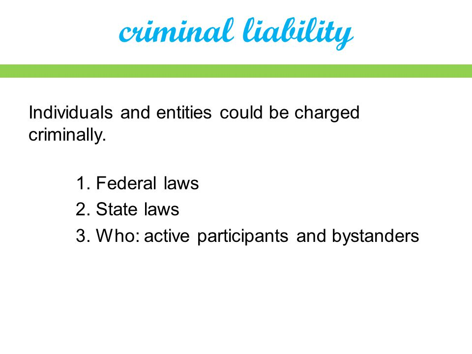 criminal liability Individuals and entities could be charged criminally.