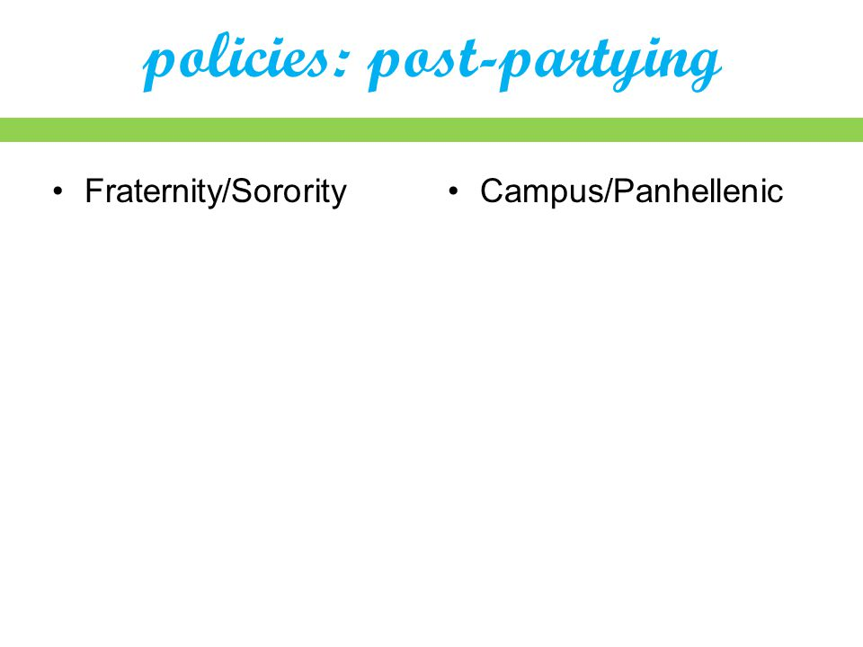 policies: post-partying Fraternity/SororityCampus/Panhellenic