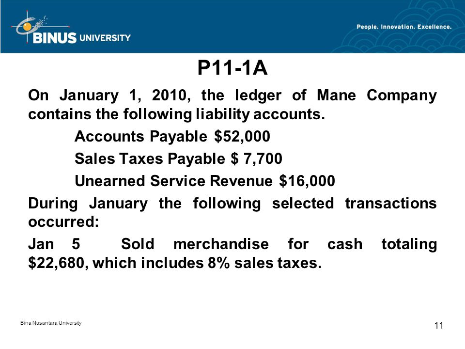 P11-1A On January 1, 2010, the ledger of Mane Company contains the following liability accounts.