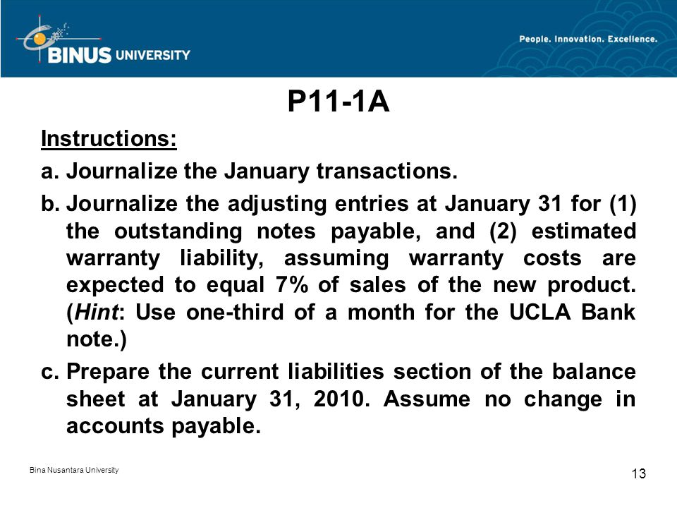 P11-1A Instructions: a.Journalize the January transactions.