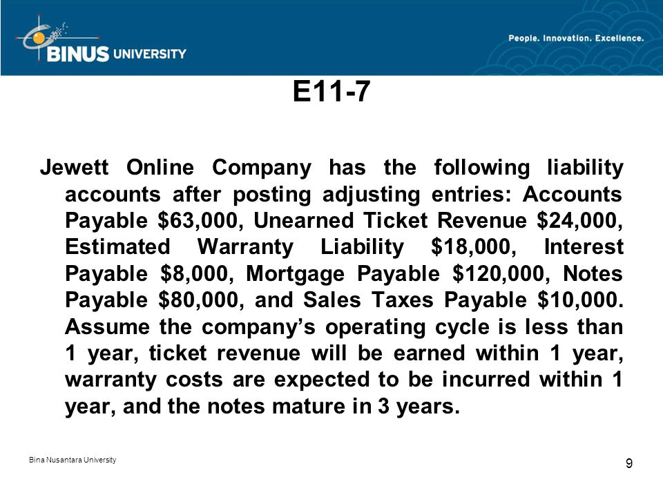 E11-7 Jewett Online Company has the following liability accounts after posting adjusting entries: Accounts Payable $63,000, Unearned Ticket Revenue $24,000, Estimated Warranty Liability $18,000, Interest Payable $8,000, Mortgage Payable $120,000, Notes Payable $80,000, and Sales Taxes Payable $10,000.