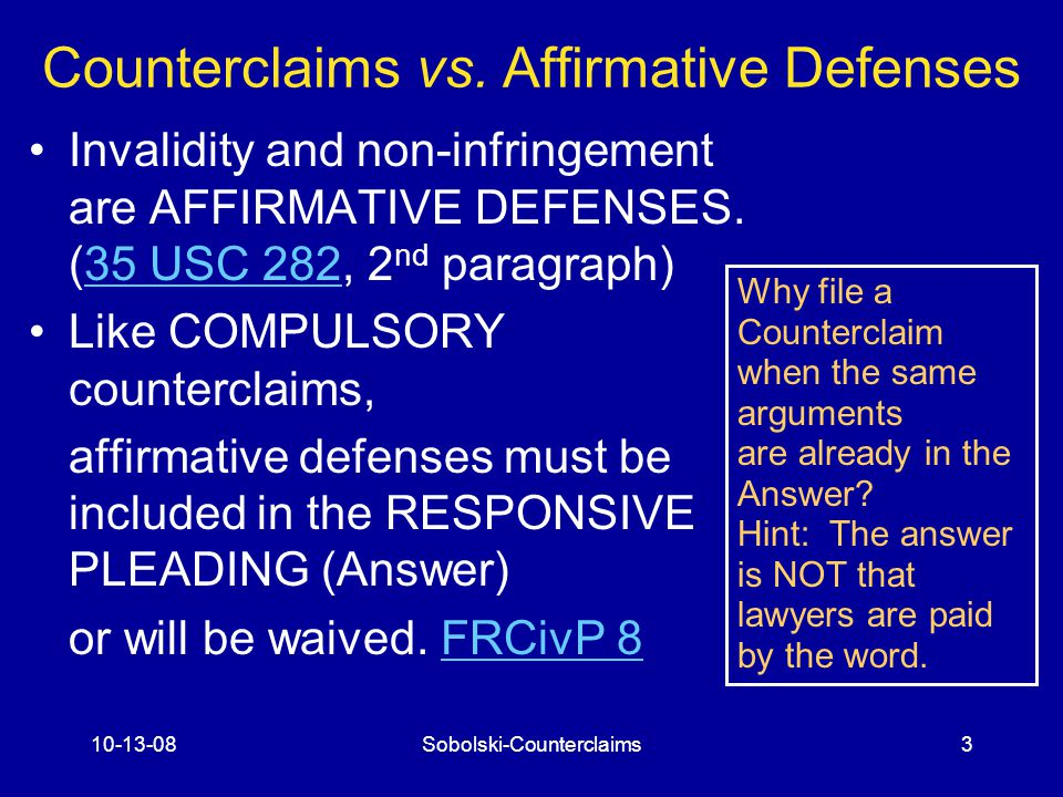 10-13-08Sobolski-Counterclaims3 Counterclaims vs.