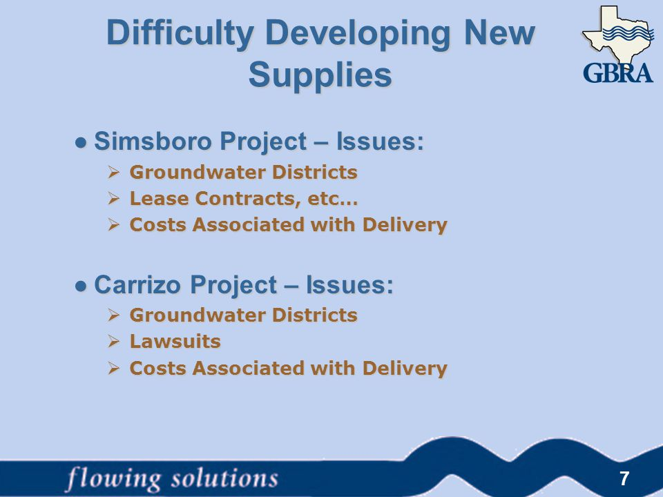 Difficulty Developing New Supplies ● Simsboro Project – Issues:  Groundwater Districts  Lease Contracts, etc…  Costs Associated with Delivery ● Car