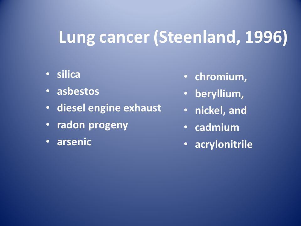 Lung cancer (Steenland, 1996) silica asbestos diesel engine exhaust radon progeny arsenic chromium, beryllium, nickel, and cadmium acrylonitrile