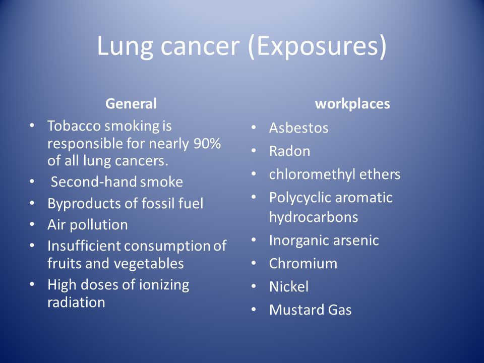 Lung cancer (Exposures) Tobacco smoking is responsible for nearly 90% of all lung cancers.
