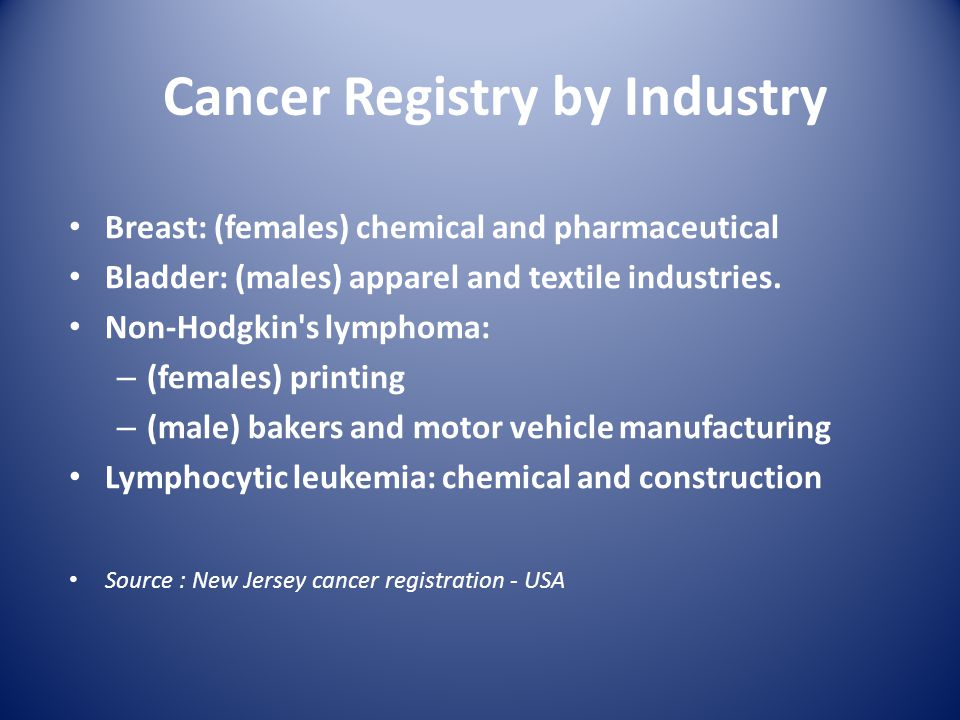 Cancer Registry by Industry Breast: (females) chemical and pharmaceutical Bladder: (males) apparel and textile industries.