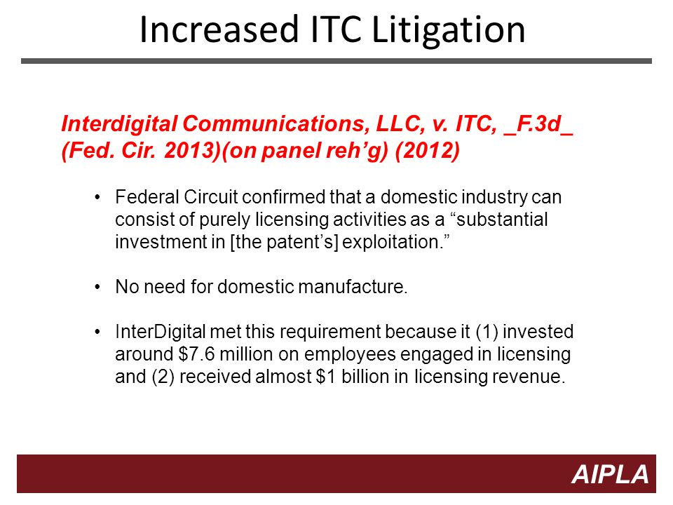 7 7 AIPLA Firm Logo Increased ITC Litigation Interdigital Communications, LLC, v.