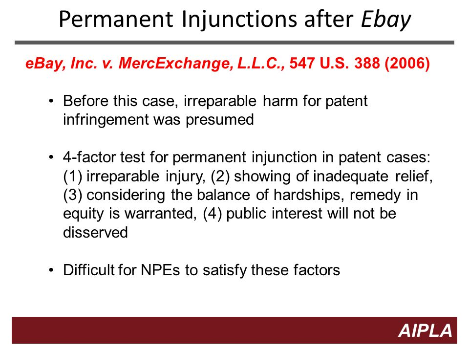 9 9 AIPLA Firm Logo Permanent Injunctions after Ebay eBay, Inc.