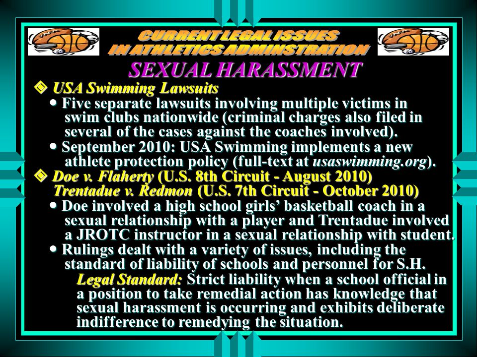 SEXUAL HARASSMENT  USA Swimming Lawsuits Five separate lawsuits involving multiple victims in swim clubs nationwide (criminal charges also filed in several of the cases against the coaches involved).