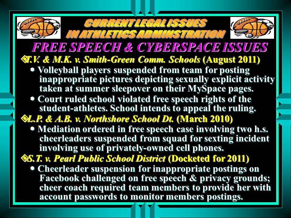 FREE SPEECH & CYBERSPACE ISSUES  T.V. & M.K. v. Smith-Green Comm. Schools (August 2011) Volleyball players suspended from team for posting inappropri