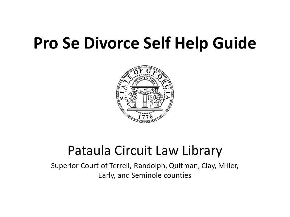 Pro Se Divorce Self Help Guide Pataula Circuit Law Library Superior Court of Terrell, Randolph, Quitman, Clay, Miller, Early, and Seminole counties