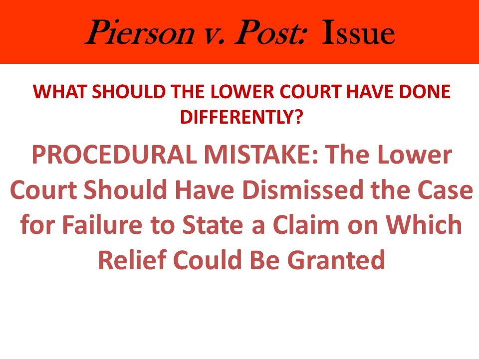Pierson v.Post: Issue WHAT SHOULD THE LOWER COURT HAVE DONE DIFFERENTLY.