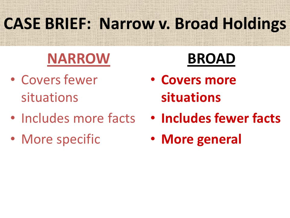 CASE BRIEF: Narrow v. Broad Holdings NARROW Covers fewer situations Includes more facts More specific BROAD Covers more situations Includes fewer fact