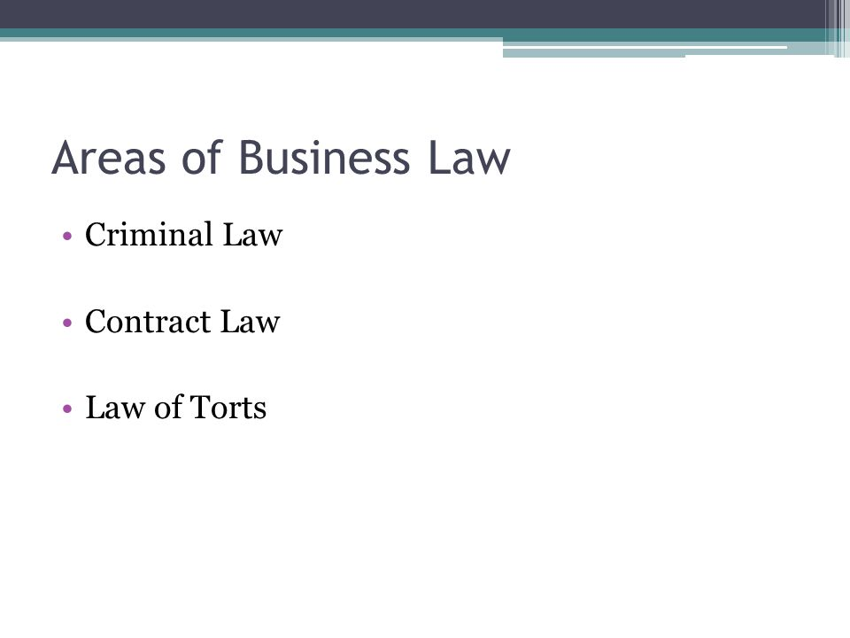Areas of Business Law Criminal Law Contract Law Law of Torts