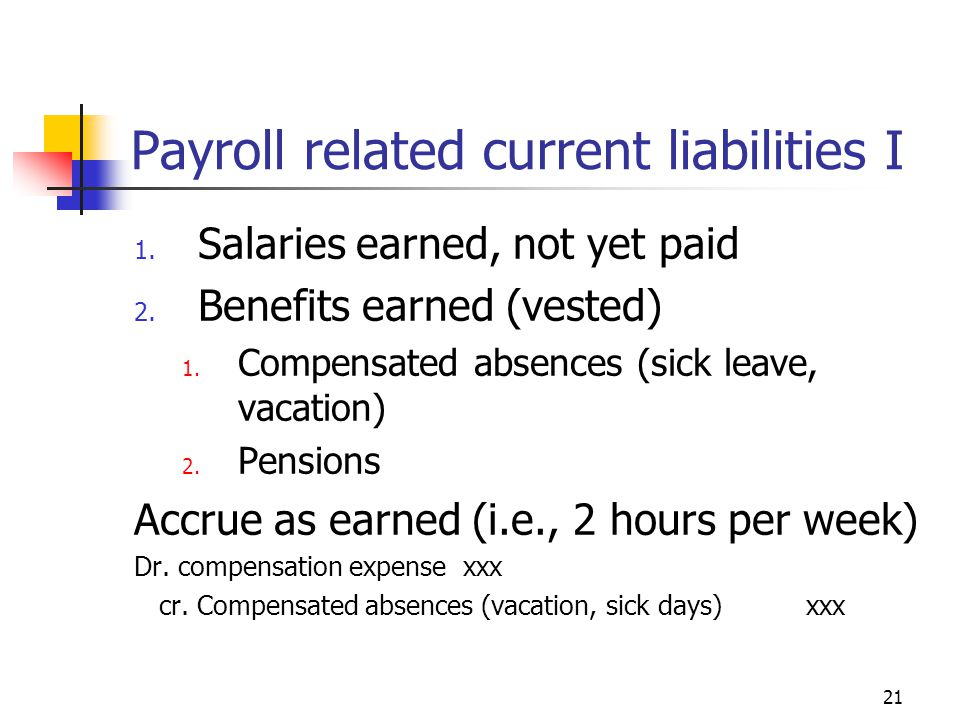 21 Payroll related current liabilities I 1. Salaries earned, not yet paid 2.