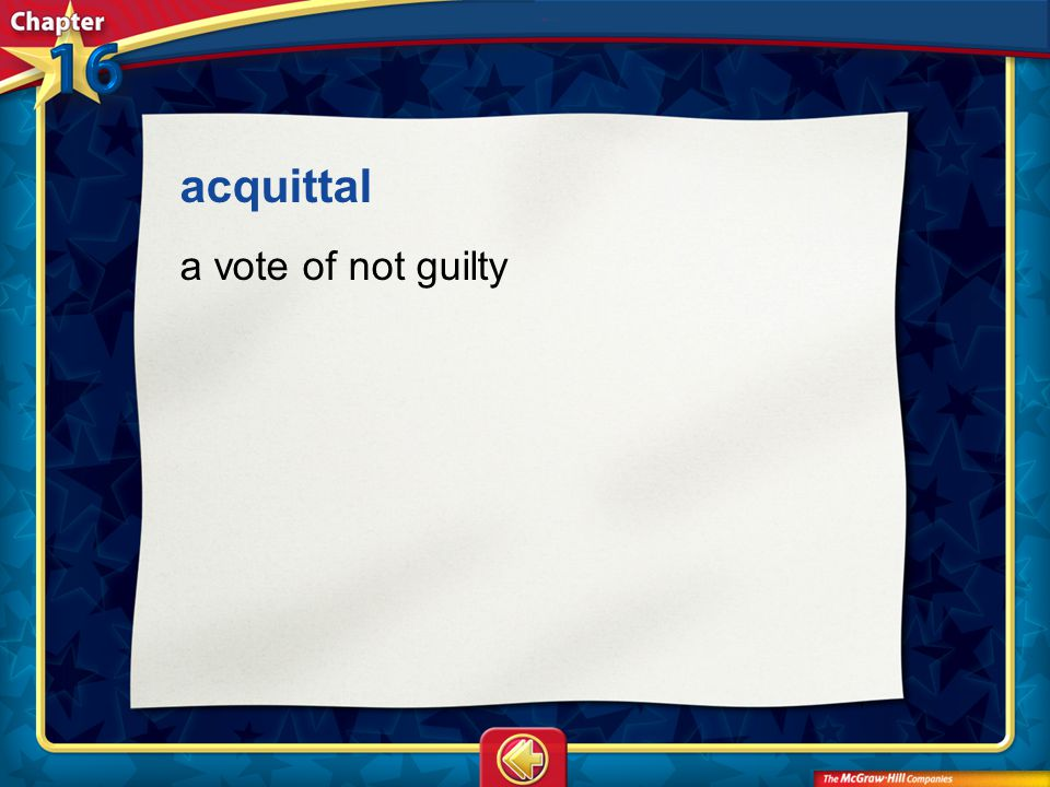 Vocab16 acquittal a vote of not guilty