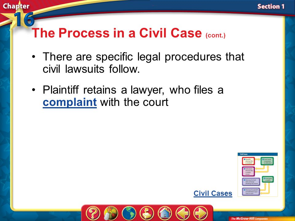 Section 1 The Process in a Civil Case (cont.) There are specific legal procedures that civil lawsuits follow.