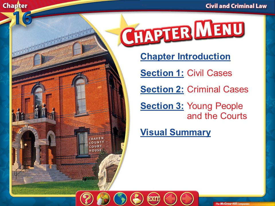 Chapter Menu Chapter Introduction Section 1:Section 1:Civil Cases Section 2:Section 2:Criminal Cases Section 3:Section 3:Young People and the Courts Visual Summary