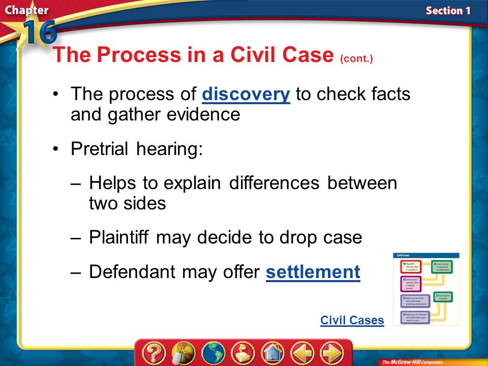Section 1 The process of discovery to check facts and gather evidencediscovery Pretrial hearing: The Process in a Civil Case (cont.) –Helps to explain differences between two sides –Plaintiff may decide to drop case –Defendant may offer settlementsettlement Civil Cases