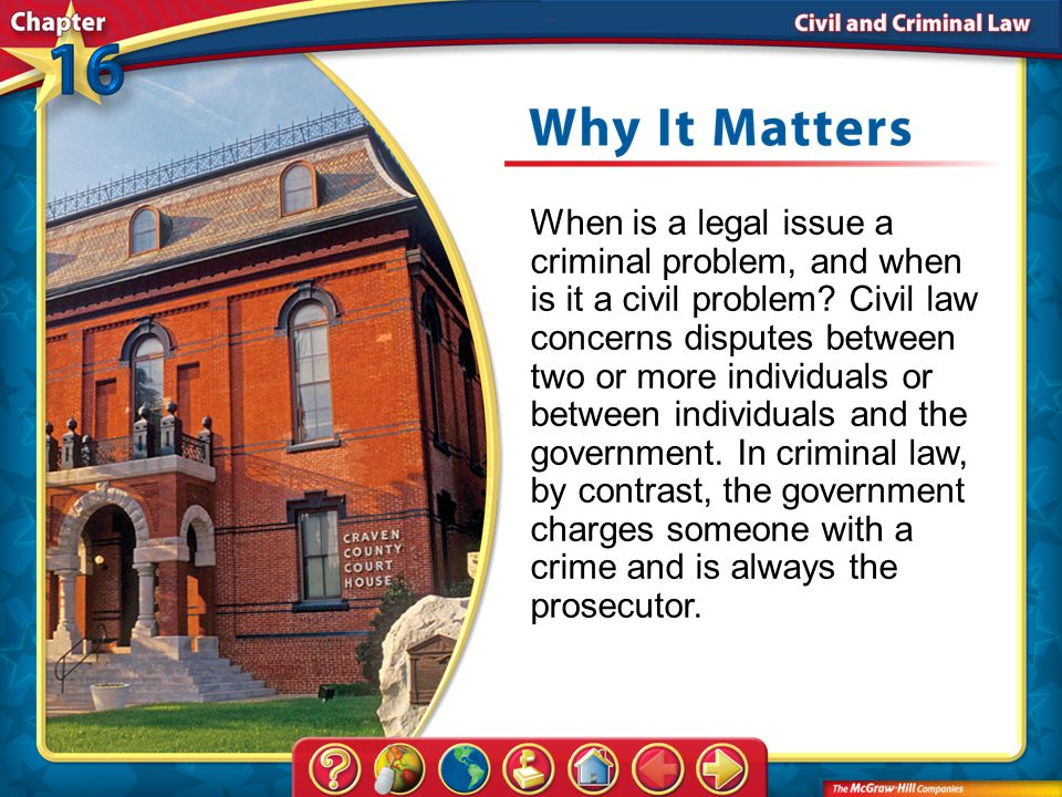 Chapter Intro 1 When is a legal issue a criminal problem, and when is it a civil problem.