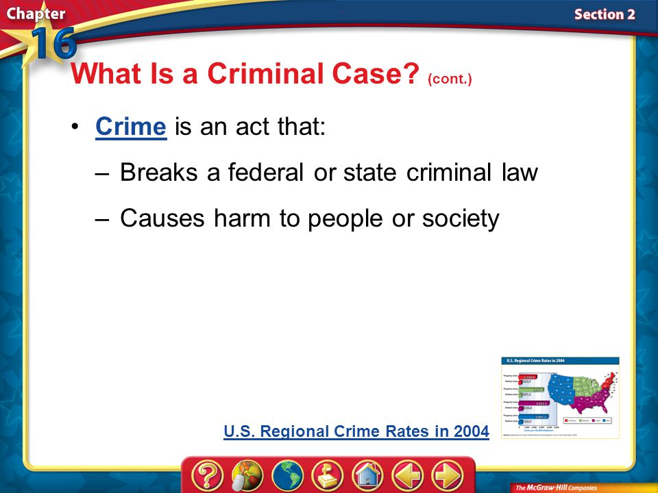 Section 2 Crime is an act that:Crime –Breaks a federal or state criminal law –Causes harm to people or society What Is a Criminal Case.
