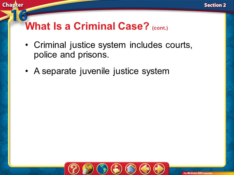Section 2 Criminal justice system includes courts, police and prisons.