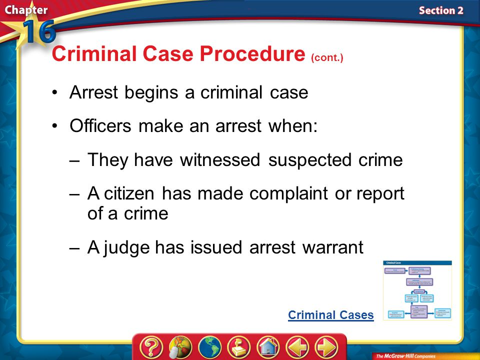 Section 2 Arrest begins a criminal case Officers make an arrest when: Criminal Case Procedure (cont.) –They have witnessed suspected crime –A citizen has made complaint or report of a crime –A judge has issued arrest warrant Criminal Cases