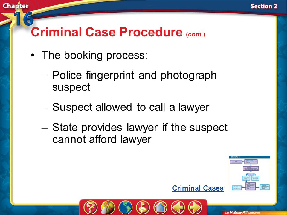 Section 2 The booking process: –Police fingerprint and photograph suspect –Suspect allowed to call a lawyer –State provides lawyer if the suspect cannot afford lawyer Criminal Case Procedure (cont.) Criminal Cases