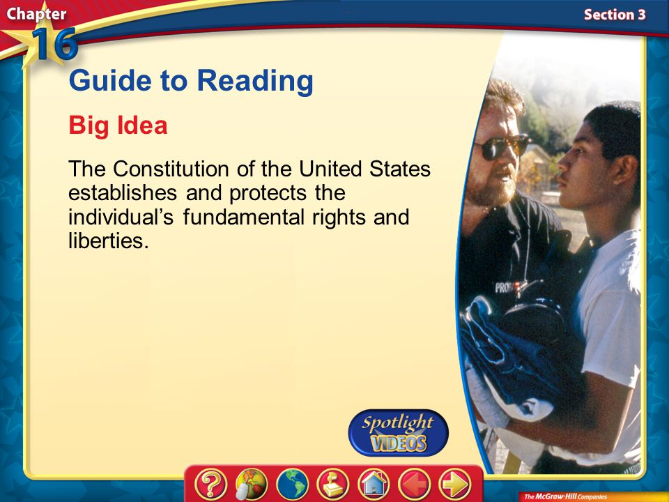 Section 3-Main Idea Guide to Reading Big Idea The Constitution of the United States establishes and protects the individual's fundamental rights and liberties.