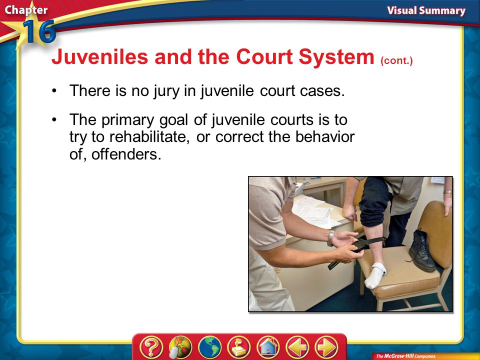 VS 4 Juveniles and the Court System (cont.) There is no jury in juvenile court cases.